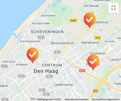 kaart testlocaties in den haag